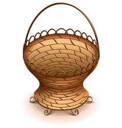 Empty wicker flower basket with handle vector