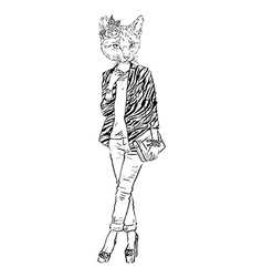 Fashion of cat girl dressed up in city style vector image