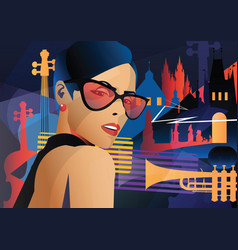 fashion woman in style pop art in prague vector image