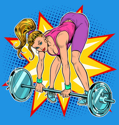 female athlete weightlifting lifting barbell vector image
