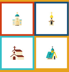 Flat icon building set of structure architecture vector