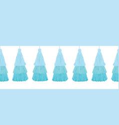 Fun blue layered decorative tassels set vector