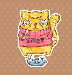 Funny cat killer vector