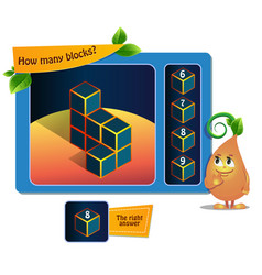 Game educational 8 block vector
