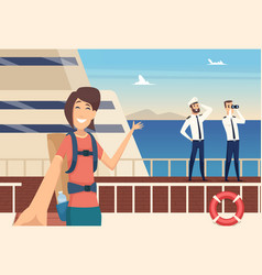 girl blogger on sea cruise selfie on background vector image