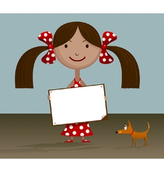 Girl with blank sign vector image
