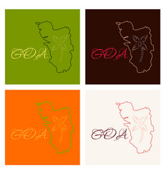 Goa india map grey vector