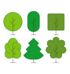 Green trees set vector