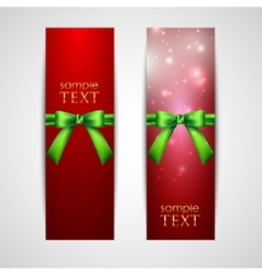 greeting cards with green bows vector image
