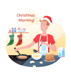guy is cooking pancakes in vector image