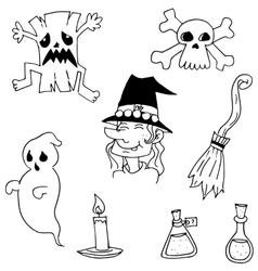Halloween black white doodle vector