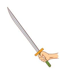 hand holding samurai vector image