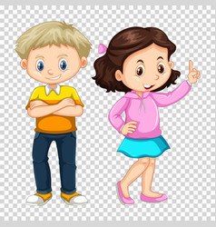 happy boy and girl on transparent background vector image