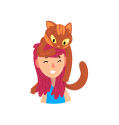 Happy smiling girl and her cat adorable pet vector