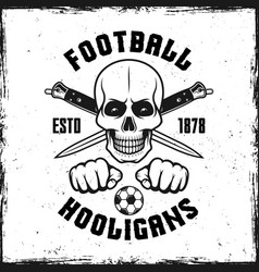 Hooligan skull emblem with two crossed knives vector