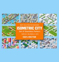 Isometric set blocks module areas vector