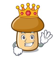 King porcini mushroom mascot cartoon vector