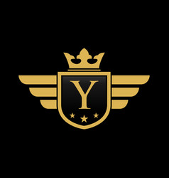 letter y shield wing vector image