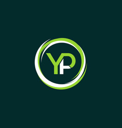 letter yp circle creative business logo vector image