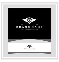 Letter z shield wing logo design concept vector
