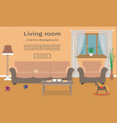 Living room interior web design banner including vector
