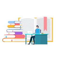 Man work and study on laptop stack textbooks vector