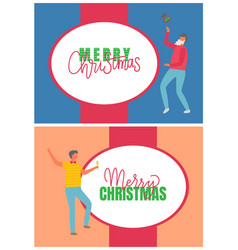 men holiday party and christmas postcard vector image