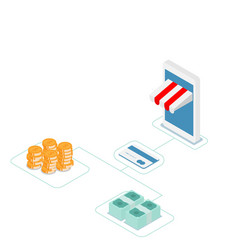 Online shopping with credit card isometric vector