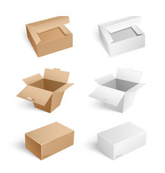 Packages and carton boxes transparent set vector