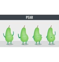 Pear Funny cartoon fruits Organic food vector