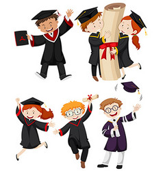 People in graduation gown vector