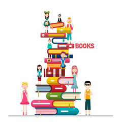 people on books pile isolated on white background vector image