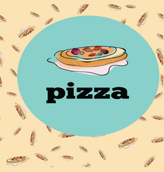 pizza slice seamless pattern food doodle vector image