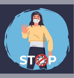 poster with woman in respiratory medical mask at vector image