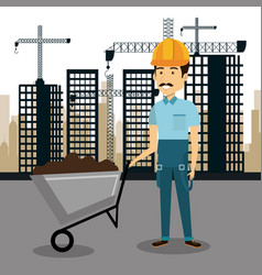 Professional construction man character with vector