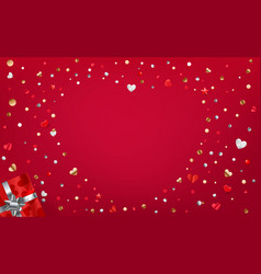 red background with abstrac heart shape with foil vector image