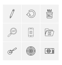 Reset pencil box search mobile health folder vector
