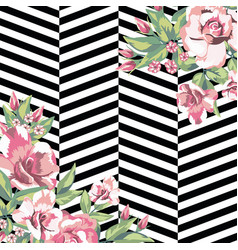 rose flowers print pattern in black white vector image
