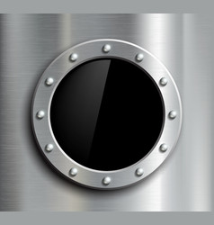 Round window in a metal fuselage vector image