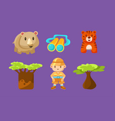 safari symbols set african animals trees and boy vector image