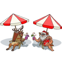 santa claus and reindeer tan vector image