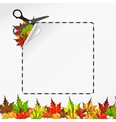 Scissors cut sticker Autumn leaf vector image