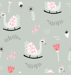 Seamless childish pattern with swan rocking toy vector