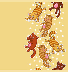 Seamless pattern with funny cartoon cats vector