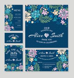 Set floral wedding cards vector