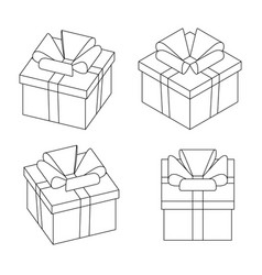 set giftbox presents in 3d line style vector image