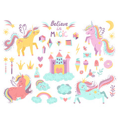 set of fantasy unicorns and other items vector image