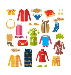 Set with color womens clothes and accessories vector