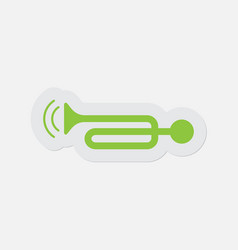 simple green icon - trumpet with vibration waves vector image