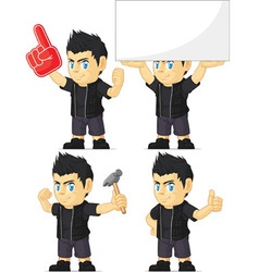 Spiky Rocker Boy Customizable Mascot 13 vector image